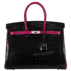 Very Rare Hermes HSS 35cm Shiny Black Crocodile Birkin Bag with Fuchsia Trim