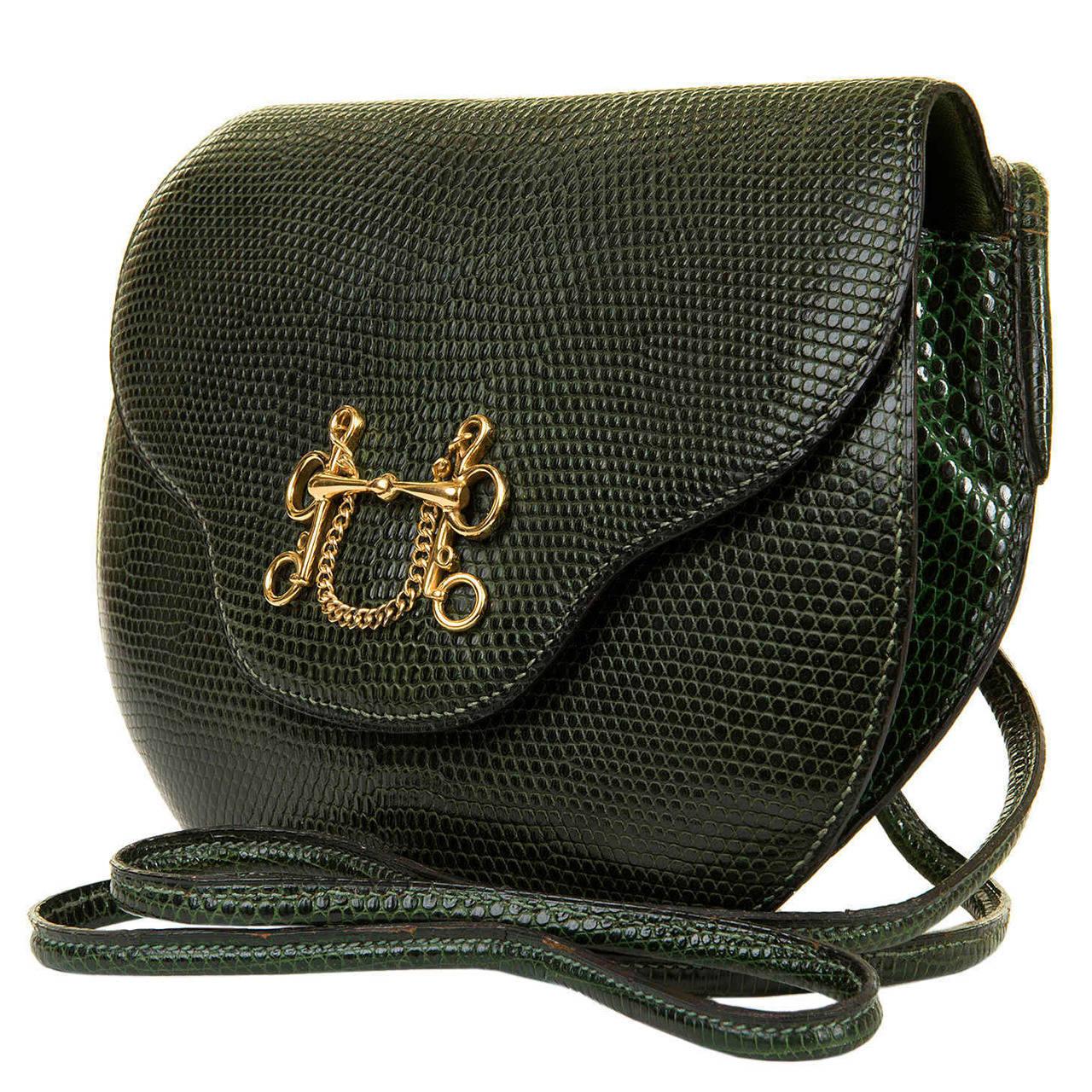 Rare & Important Hermes Green Lizard & 'Bronze Dore' Cross Body Bag ...