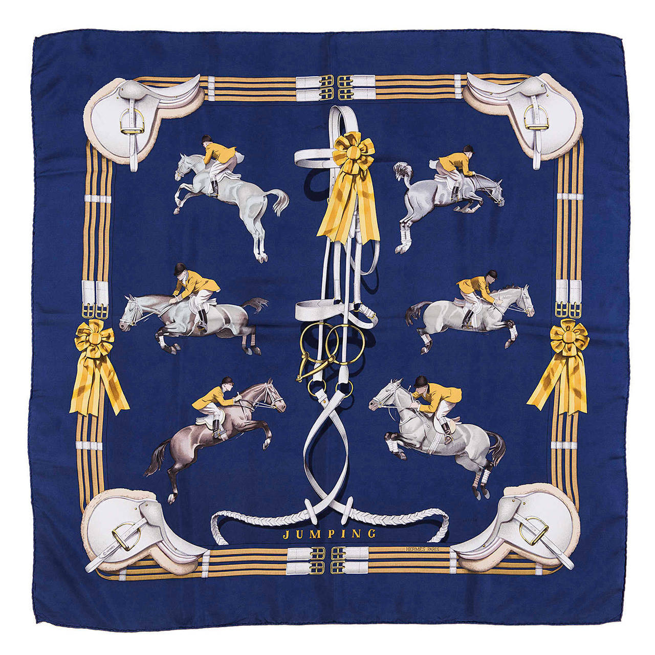 hermes silk scarf jumping by philippe ledoux at 1stdibs