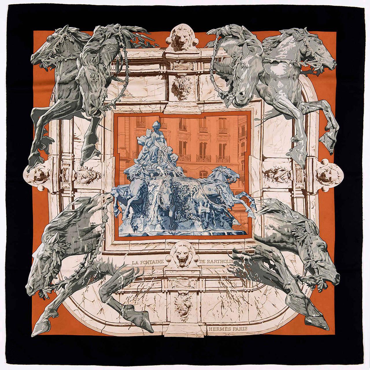 A Rare Hermes Scarf La Fontaine De Bartholdi Washington