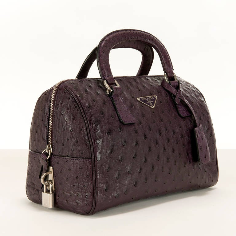 prada handbags white leather - WOW ! Prada bag in stunning Aubergine 'Ostrich' with Silver ...
