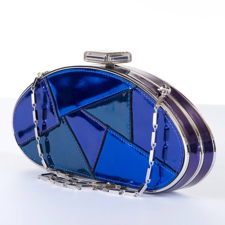 WOW! Versace Evening, Patchwork Blue Patent Leather Clutch or Shoulder ...