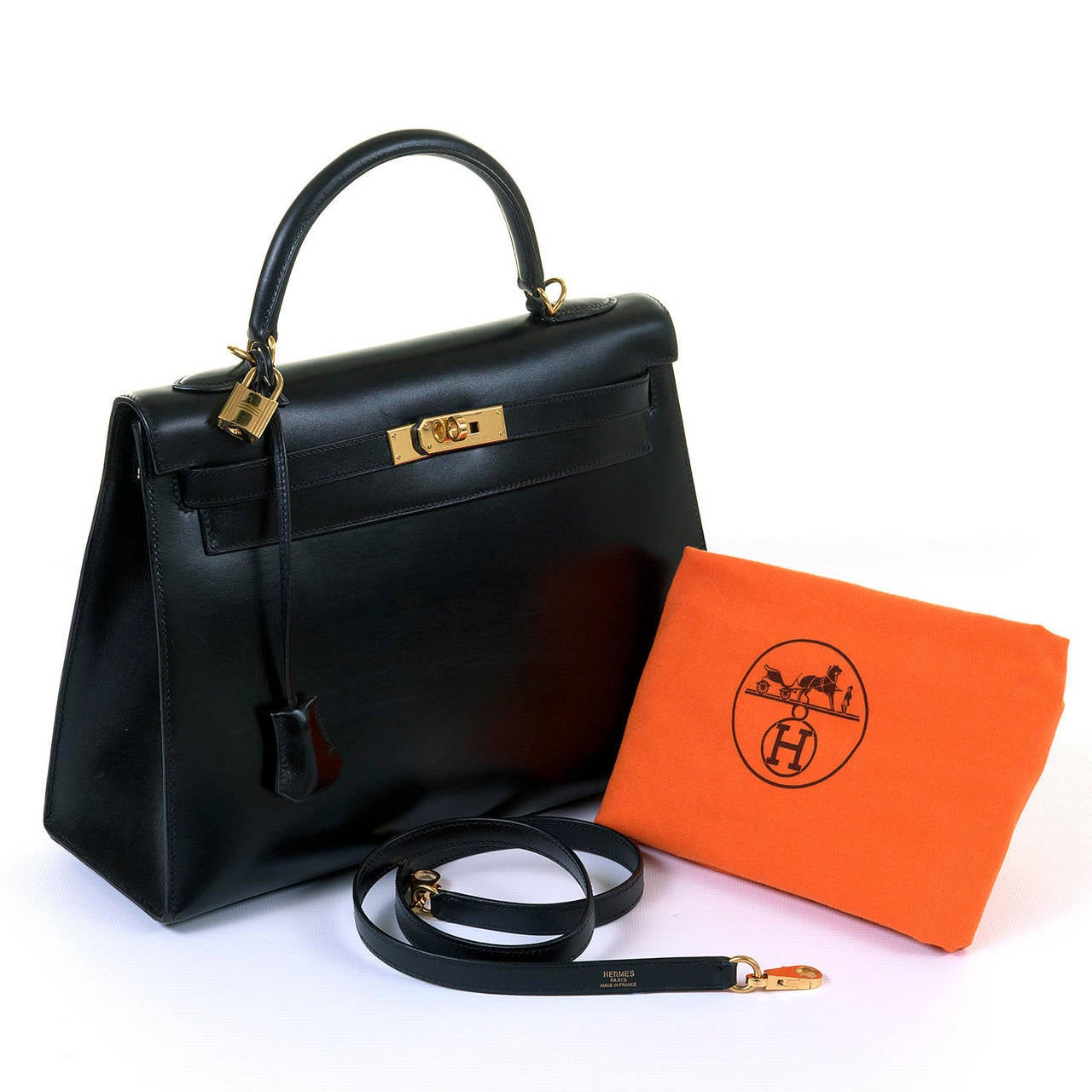 PRISTINE Hermes Kelly 33cm \u0026#39;Sellier\u0026#39; Bag in Black Box Leather with ...