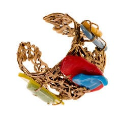 Nina Ricci,  Gold metal Cuff, set with Abstract Coloured Resin Stones