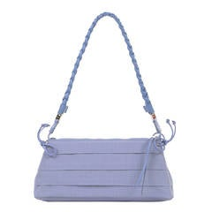 A Cute Ferragamo Clutch/Shoulder Bag in Lavender Toile & Matching Leather Trim