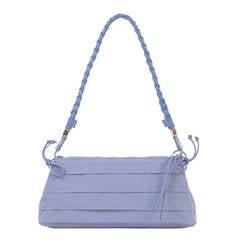 A Cute Ferragamo Clutch/Shoulder Bag in Lavender Toile & Matching Leather Trim