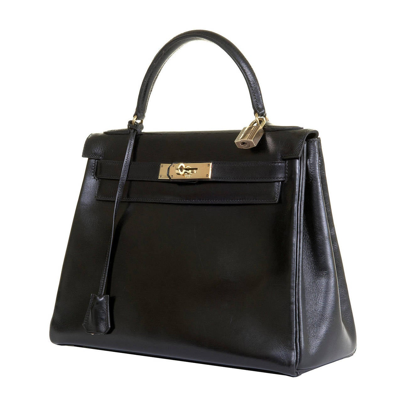 replica hermes birkin bags - A VERY RARE Vintage Hermes 29cm Kelly Bag in Black Box Leather ...
