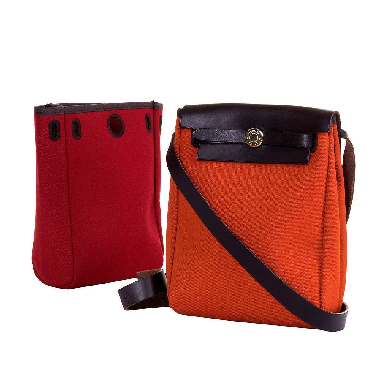 hermes hermes toile shoulder bag orange and red