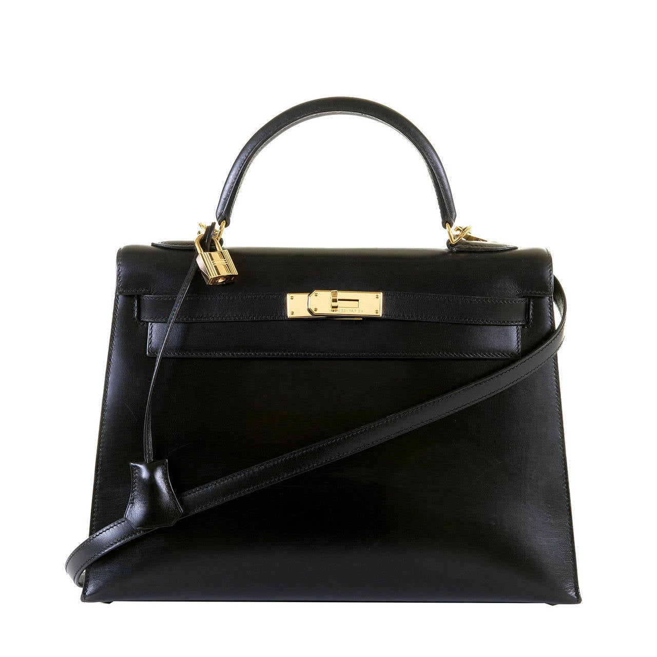 replica birkin handbags - PRISTINE Hermes Kelly 33cm 'Sellier' Bag in Black Box Leather with ...