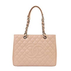 PRISTINE NEW - Chanel 34cm 'Sac cabas' in Vanilla Quilted Caviar with Palladium