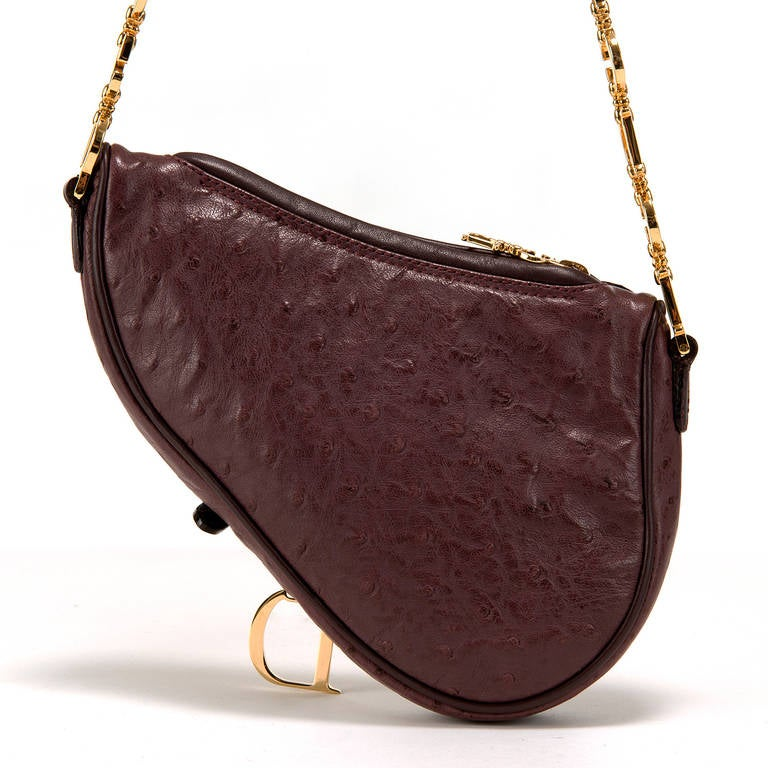 Christian Dior Aubergine Ostrich Skin Saddle Bag With