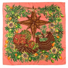 A Gorgeous Vintage Hermes Silk Scarf 'Passiflores' By Valerie Dawlat-Dumoulin