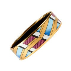 Michaela Frey for Hermes - Pristine Beautiful Gilt & Enamel Bangle