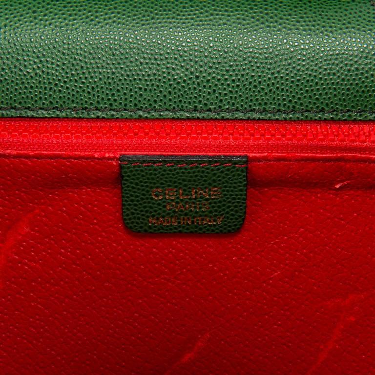 A Rare C¨¦line Green Leather Shoulder/Clutch Bag at 1stdibs