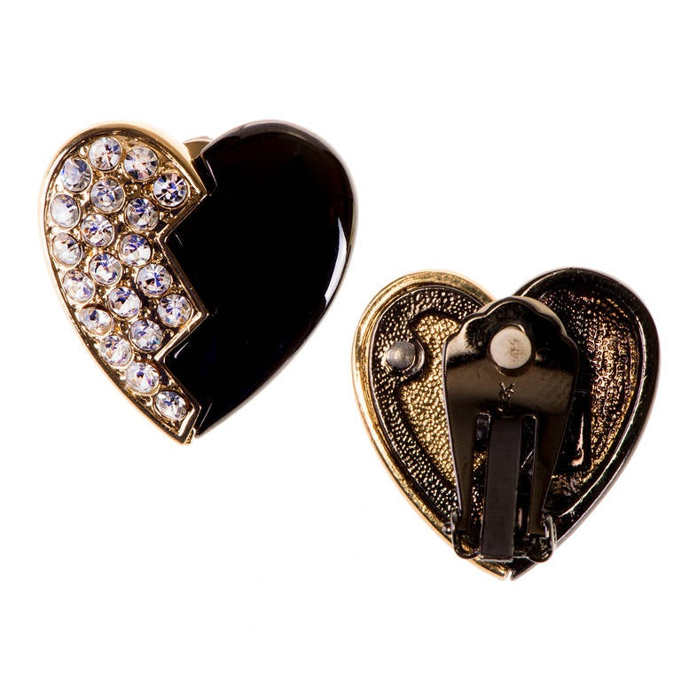 'Tres Chic'  heart shaped clip-on earrings by Yves Saint Laurent 2