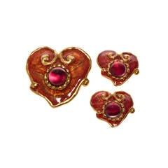 Christian Lacroix Earrings & Matching Pendant/Brooch