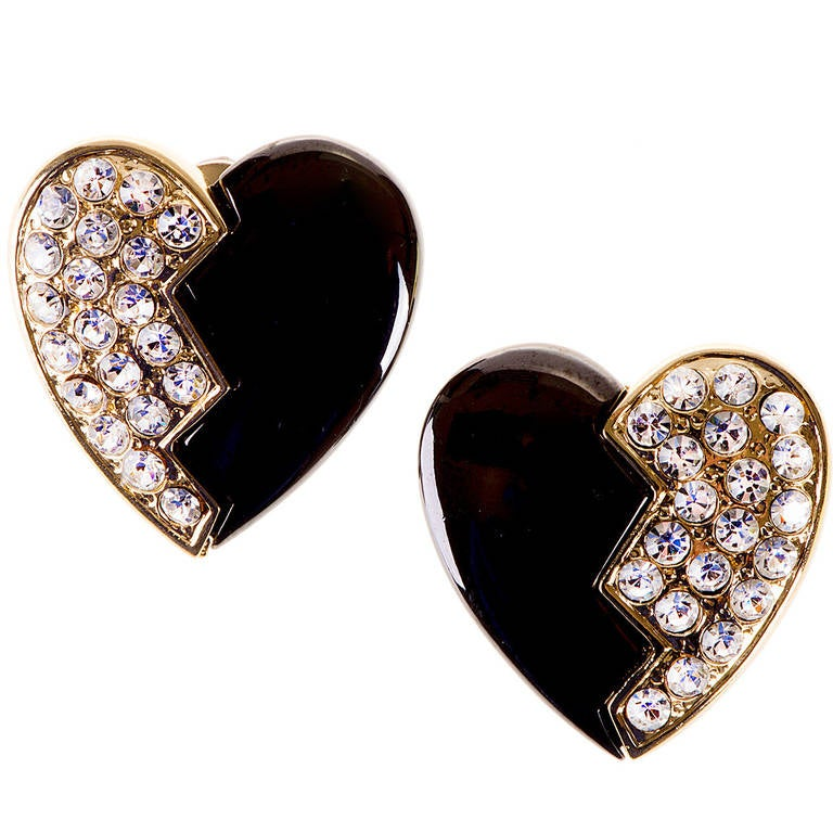 'Tres Chic'  heart shaped clip-on earrings by Yves Saint Laurent 1