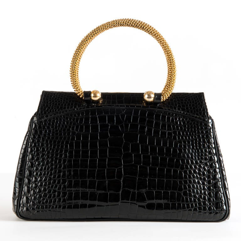 A Very Rare Black Vintage Crocodile Handbag By Jean