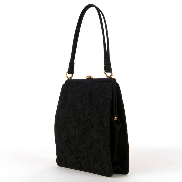 The 'Spencer' Black Embroidered-Satin Evening Bag By Rayne of London 2