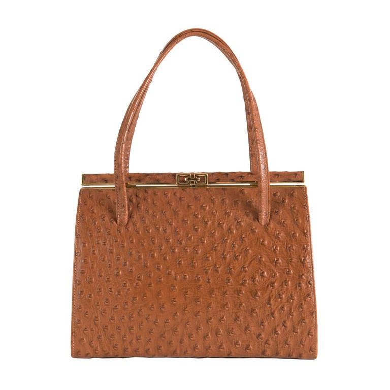 A Rare Vintage Tan Ostrich Skin Bag By Asprey Of London At
