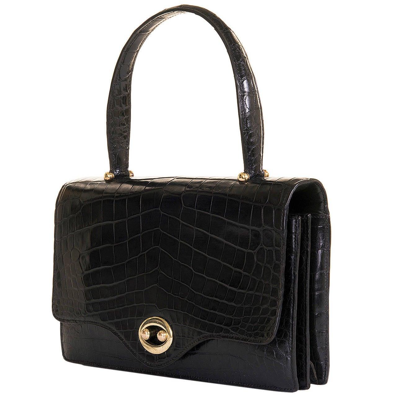 a very rare vintage hermes 26cm black crocodile 39 sac boutonniere 39 bag at 1stdibs. Black Bedroom Furniture Sets. Home Design Ideas