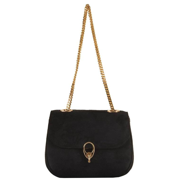 WOW Celine of Paris Black Suede Shoulder or Clutch Bag 2