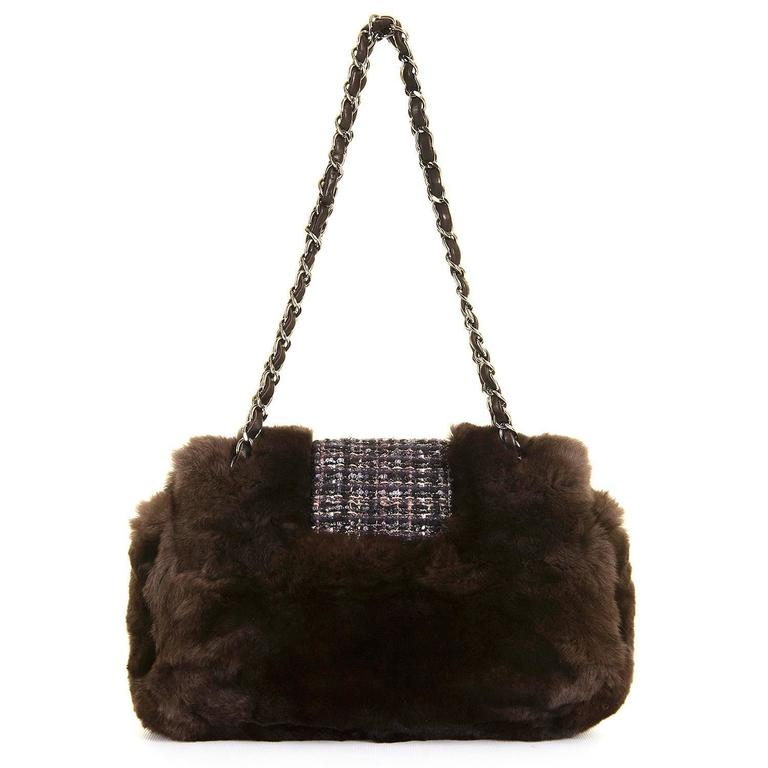 WOW! Chanel Limited Edition 28cm Fur & Tweed 'Sac Classique'  by Karl Lagerfeld 2