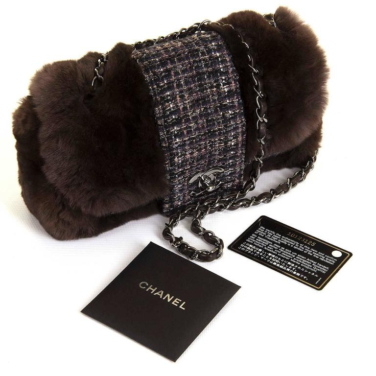 WOW! Chanel Limited Edition 28cm Fur & Tweed 'Sac Classique'  by Karl Lagerfeld 3