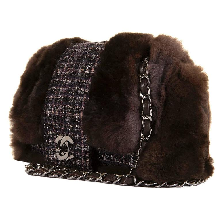 WOW! Chanel Limited Edition 28cm Fur & Tweed 'Sac Classique'  by Karl Lagerfeld 4
