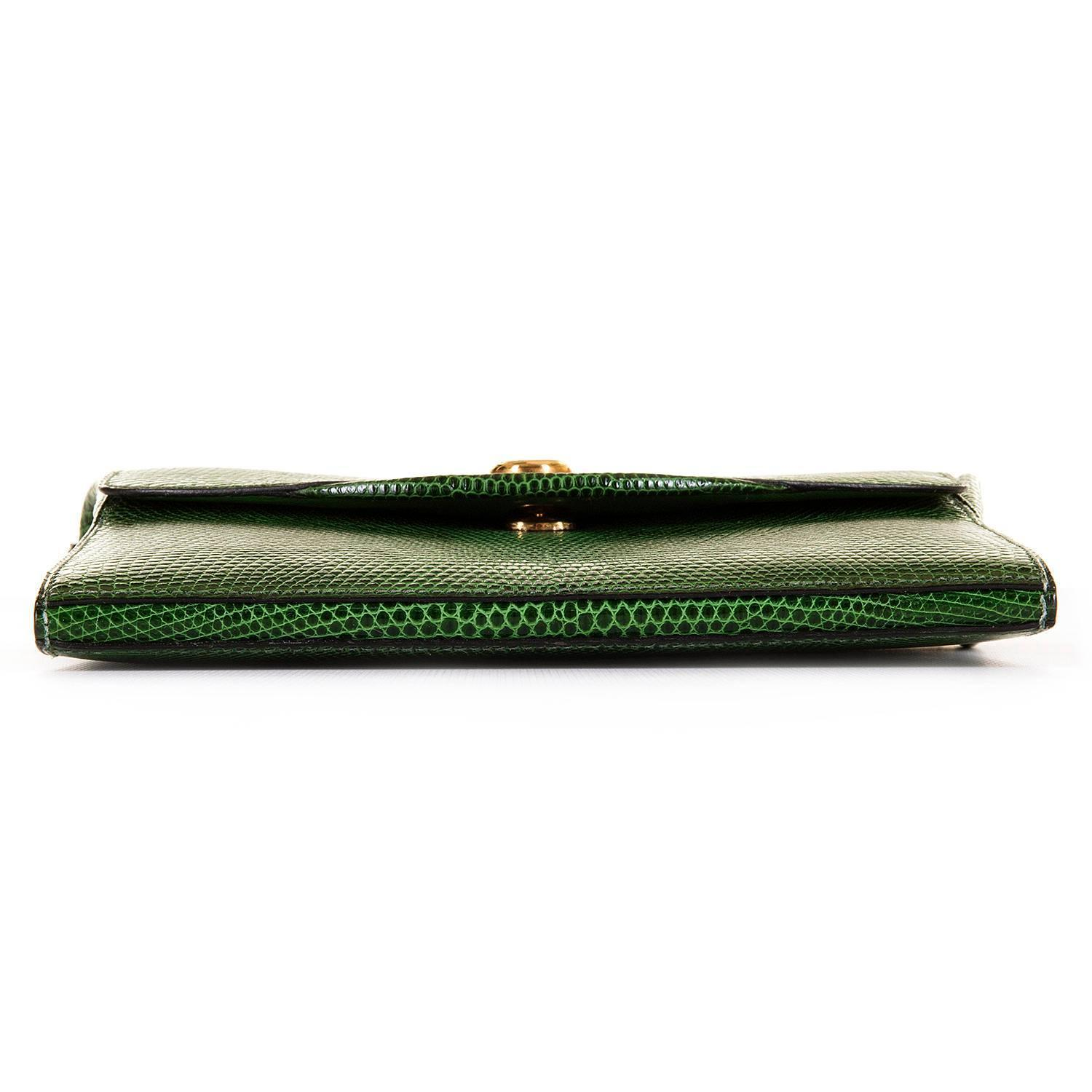 very rare hermes vintage green lizard shoulder bag with bronze dore clasp