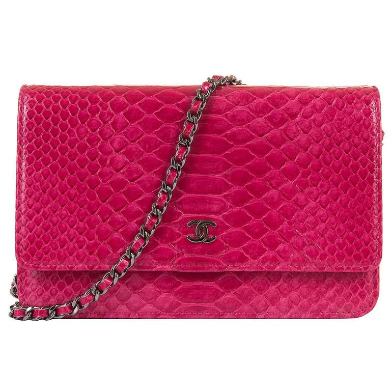 SO SO RARE Chanel 'Tres Chic' WOC Bag in Fushia Pink Python with SHW - Pristine  2