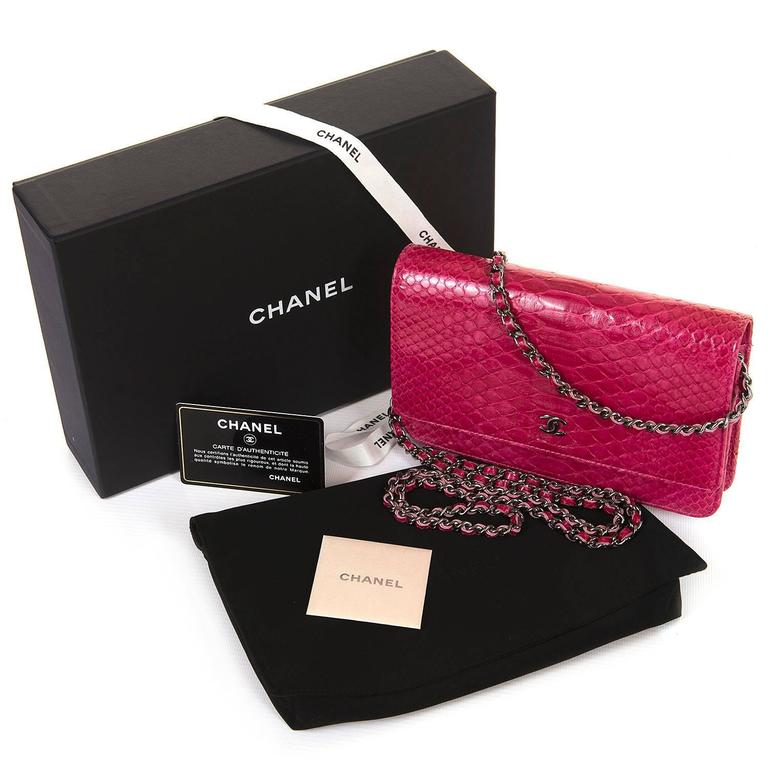 SO SO RARE Chanel 'Tres Chic' WOC Bag in Fushia Pink Python with SHW - Pristine  3