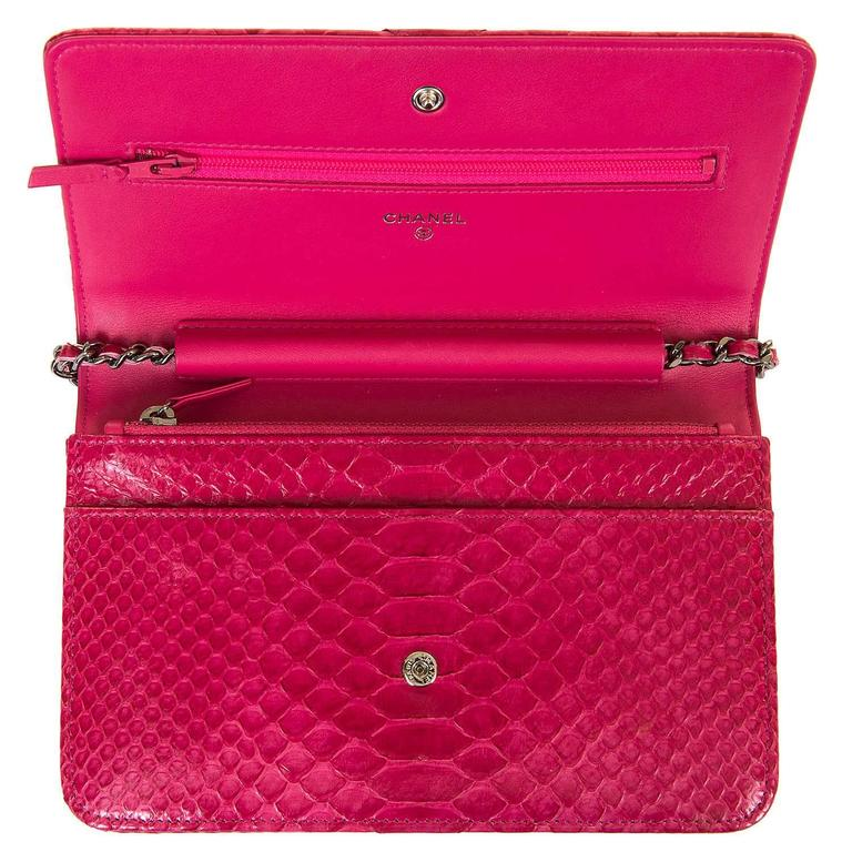 SO SO RARE Chanel 'Tres Chic' WOC Bag in Fushia Pink Python with SHW - Pristine  5