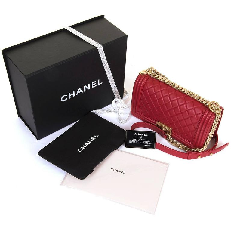 Fabulous New Chanel Imperial Red 25cm Medium Quilted Boy Bag with Gold Hardware 2
