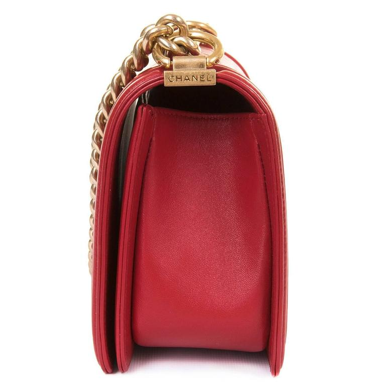Fabulous New Chanel Imperial Red 25cm Medium Quilted Boy Bag with Gold Hardware 4