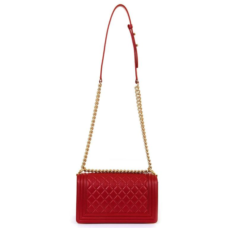 Fabulous New Chanel Imperial Red 25cm Medium Quilted Boy Bag with Gold Hardware 6
