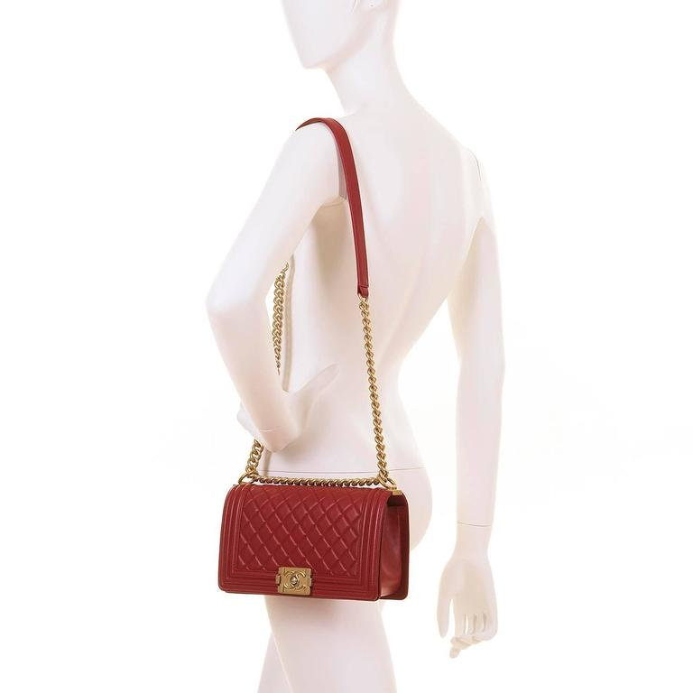 Fabulous New Chanel Imperial Red 25cm Medium Quilted Boy Bag with Gold Hardware 7