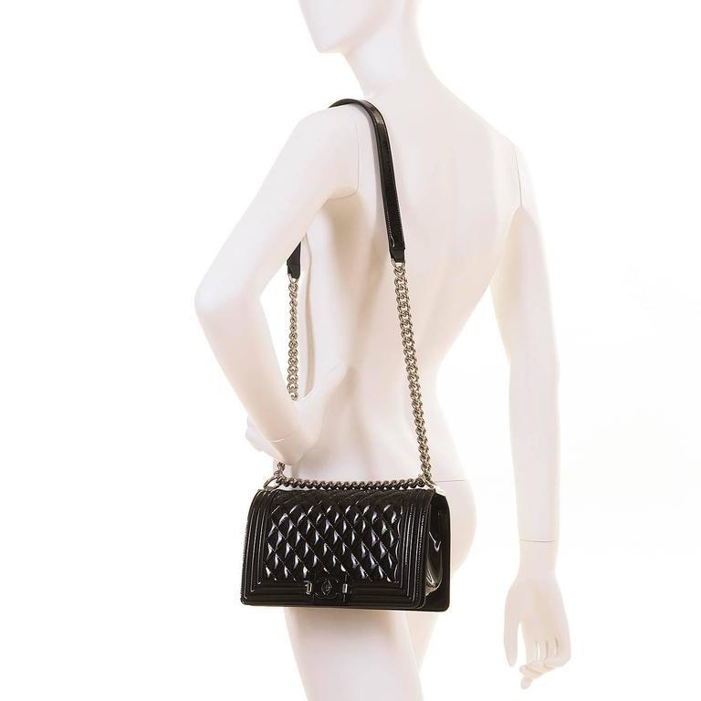 New & Unused Chanel 25cm Medium Black Patent 'Boy' Bag with Silver Hardware 7