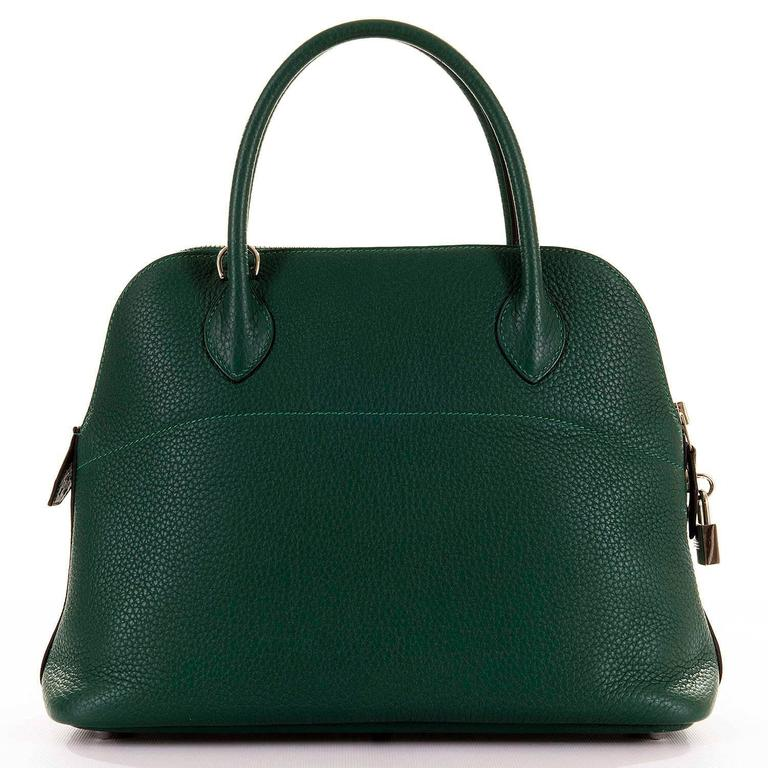 WOW! As New Hermes 31cm Rare 'Malachite Green' Togo Leather Bolide Bag with SHW 3