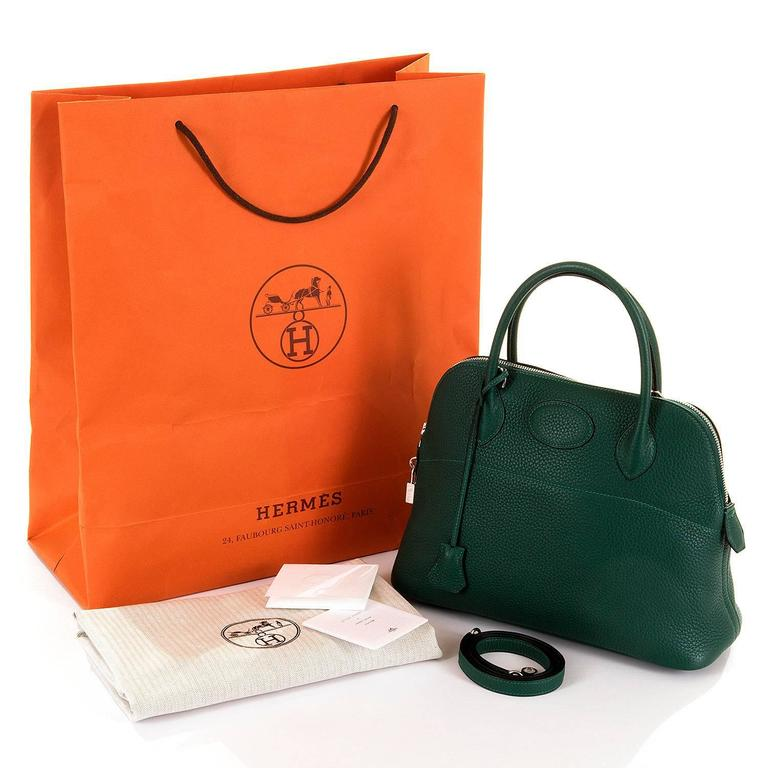 WOW! As New Hermes 31cm Rare 'Malachite Green' Togo Leather Bolide Bag with SHW 7