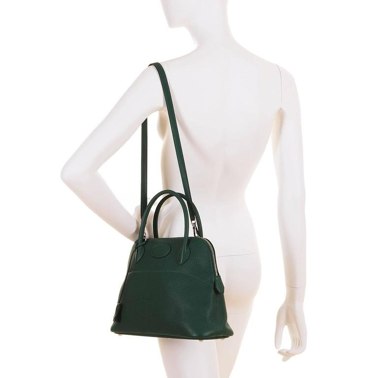 WOW! As New Hermes 31cm Rare 'Malachite Green' Togo Leather Bolide Bag with SHW 9