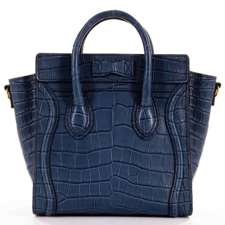 WOW! New Celine 'Prussian Blue' Crocodile 'Nanos' Hand/Shoulder Bag with GHW 2