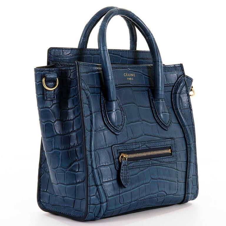 WOW! New Celine 'Prussian Blue' Crocodile 'Nanos' Hand/Shoulder Bag with GHW 3