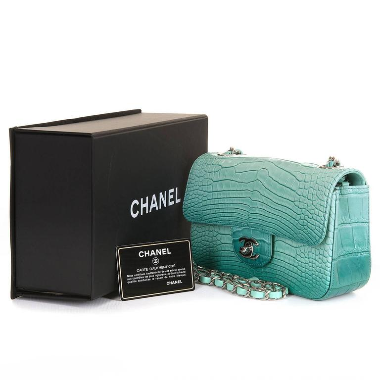 NEW MINI Chanel Turquoise Alligator 'Sac Timeless' Bag with Silver Hardware 2