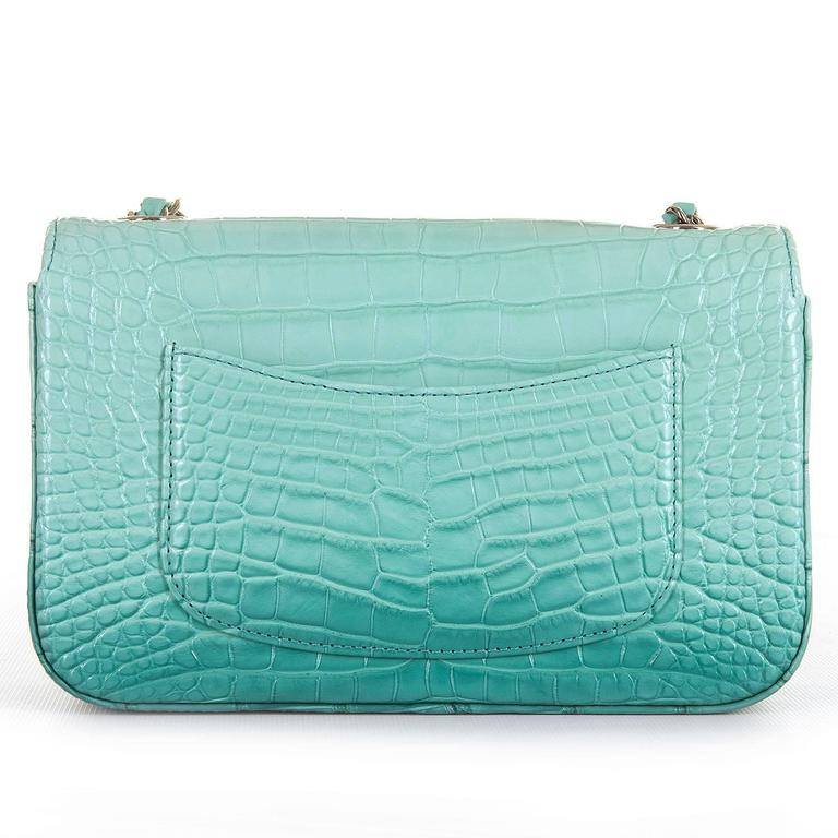 NEW MINI Chanel Turquoise Alligator 'Sac Timeless' Bag with Silver Hardware 3
