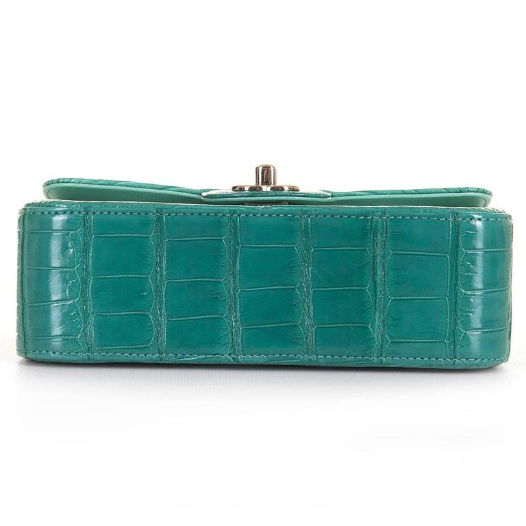 NEW MINI Chanel Turquoise Alligator 'Sac Timeless' Bag with Silver Hardware 4