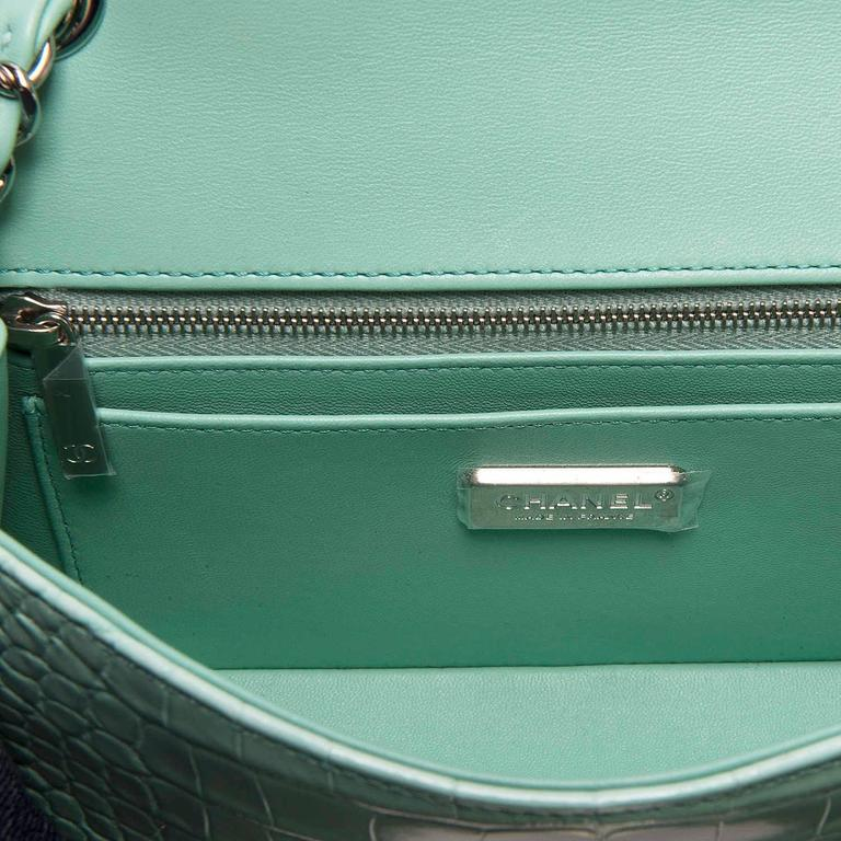 NEW MINI Chanel Turquoise Alligator 'Sac Timeless' Bag with Silver Hardware 5