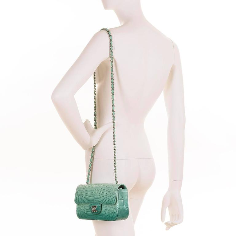 NEW MINI Chanel Turquoise Alligator 'Sac Timeless' Bag with Silver Hardware 6