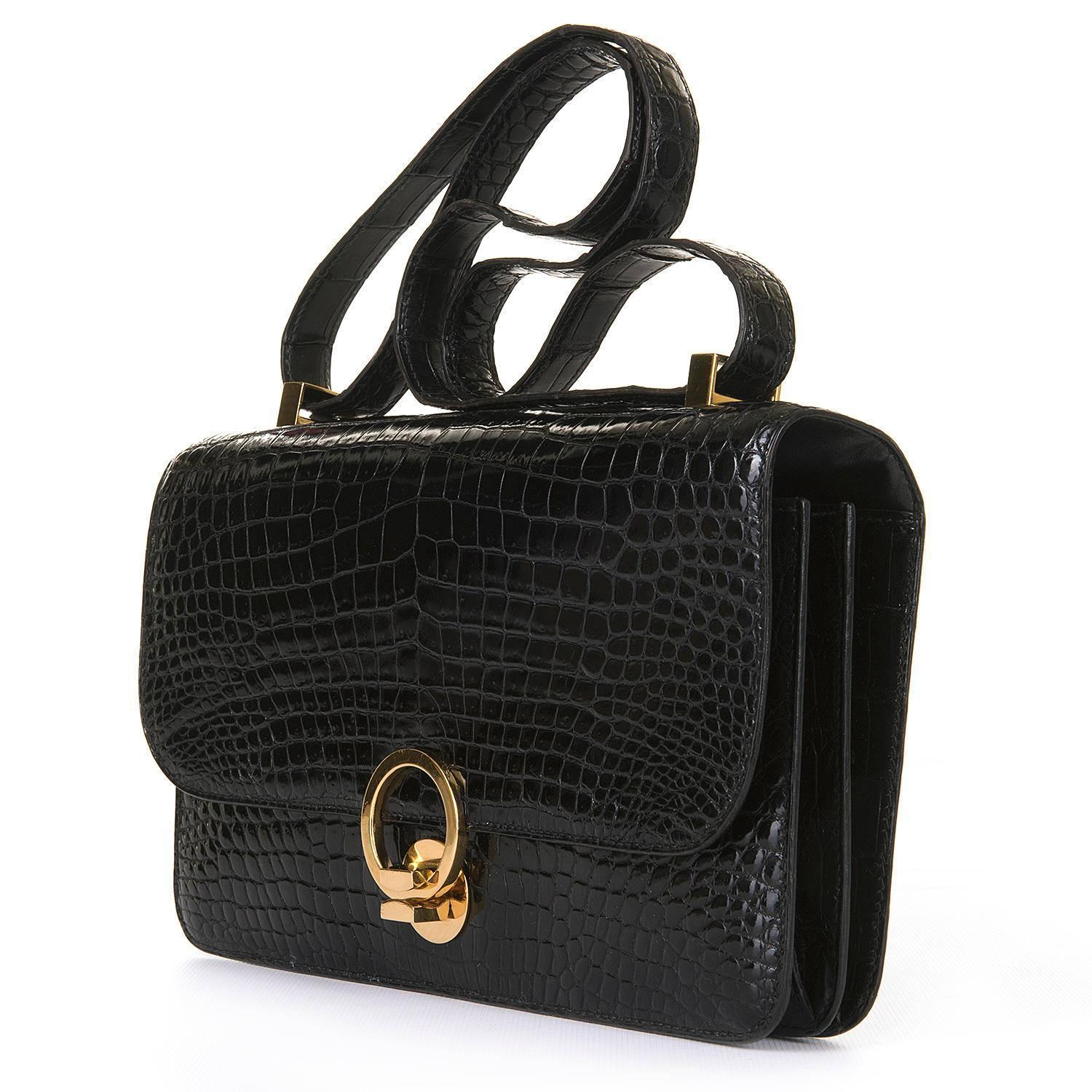pristine vintage hermes 39 sac ring 39 black porosus crocodile shoulder bag at 1stdibs. Black Bedroom Furniture Sets. Home Design Ideas