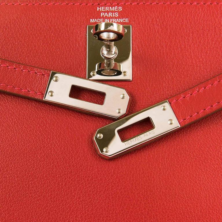 RARE & PRISTINE Hermes Danse Kelly Bag in Swift Leather with Palladium Hardware 6